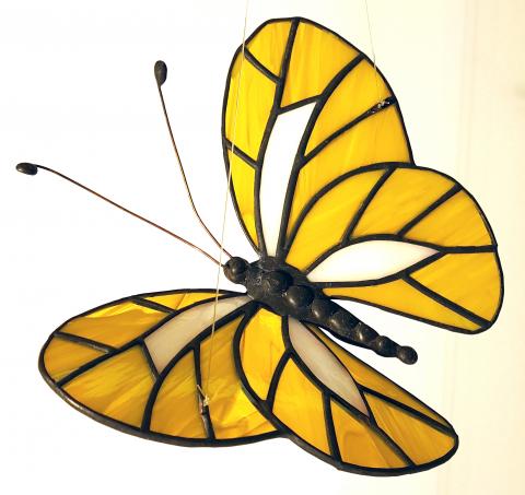 """Glashänger """"Schmetterling Zitronenfalter"""", Tiffanyglas, Glasbild"""