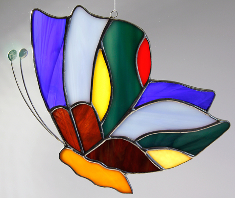 """Glashänger """"Schmetterling rund"""" flach, Tiffanyglas, Glasbild"""