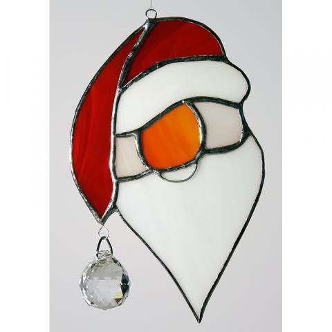 """Glashänger """"Weihnachtsmann mit Kristall Kugel"""" Glasbild, Tiffanyglas"""
