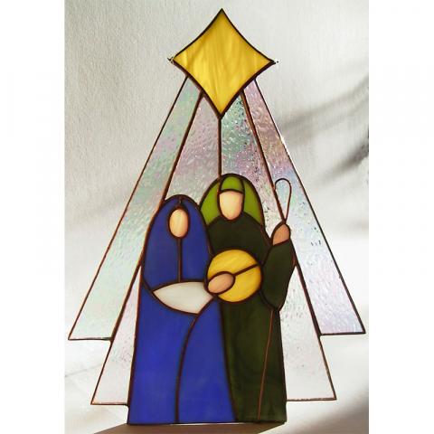 "Glashänger ""Heilige Familie"" Tiffanyglas"