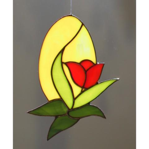 """Glashänger """"Ei mit Tulpe"""", Tiffanyglas, Glasbild"""