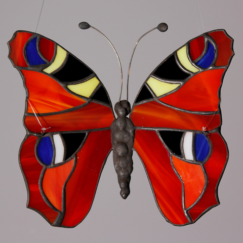 "Glashänger ""Schmetterling Tagpfauenauge"", Tiffanyglas, Glasbild"