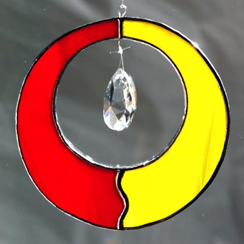 "Glashänger ""Zirkel"" rot/gelb, Glasbild, Tiffany-Glas"