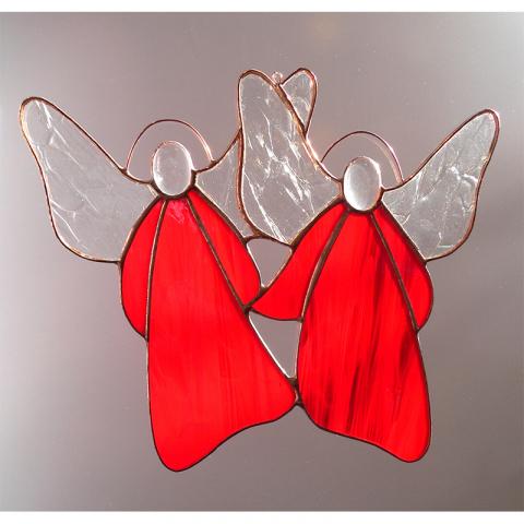 "Glashänger ""Engelpaar"" Tiffanyglas"