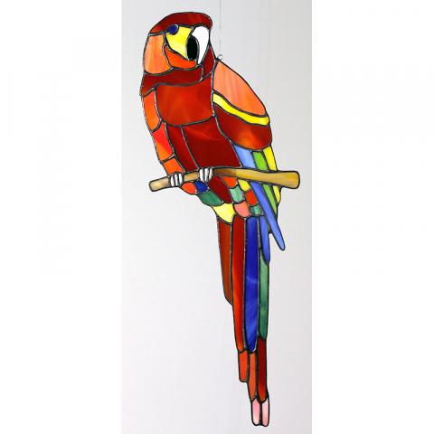 """Glashänger """"Papagei groß"""" Tiffanyglas, Glasbild"""