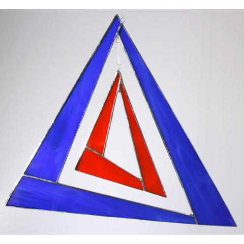 "Glashänger ""Triangel groß"" blau, rot, Glasbild, Tiffanyglas"