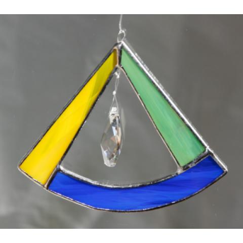 """Glashänger """"Triangel"""" grün/blau/gelb, Glasbild"""