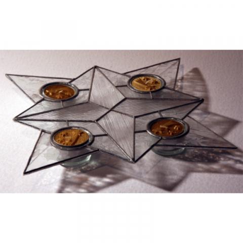 """Teelichthalter """"Advent Licht """" 4 Teelichter, Tiffanyglas"""