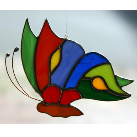 """Glashänger """"Schmetterling flach"""" Tiffanyglas, Glasbild"""