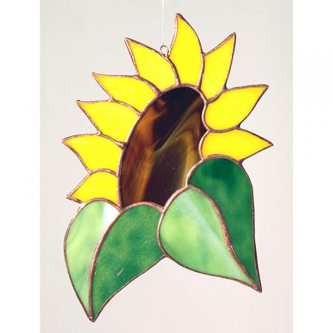 """Glashänger """"Sonnenblume klein"""" Tiffany-Glasbild"""