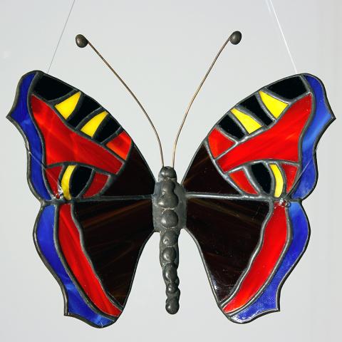"""Glashänger """"Schmetterling Kleiner Fuchs"""", Tiffanyglas, Glasbild"""