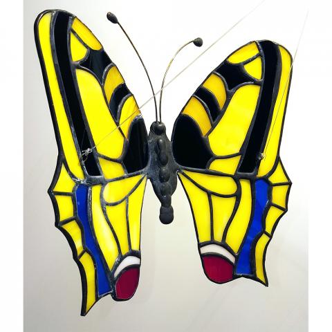 """Glashänger """"Schmetterling Schwalbenschwanz"""", Tiffanyglas, Glasbild"""