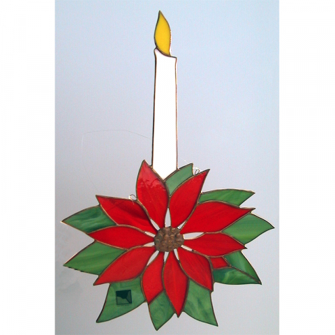 """Glashänger """"Weihnachtsstern mit Kerze"""" Tiffanyglas"""