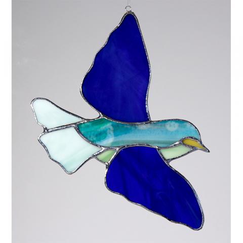 "Glashänger ""Vogel 3"" Glasbild, Tiffanyglas"