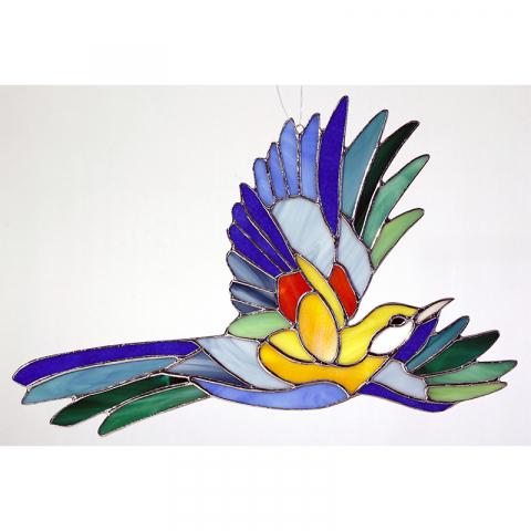 """Glashänger """"Paradiesvogel groß"""" Tiffanyglas, Glasbild"""