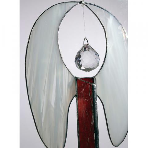"""Glashänger """"Röhren-Engel, hängend mit Kristallkugel"""" rot, Glasbild"""