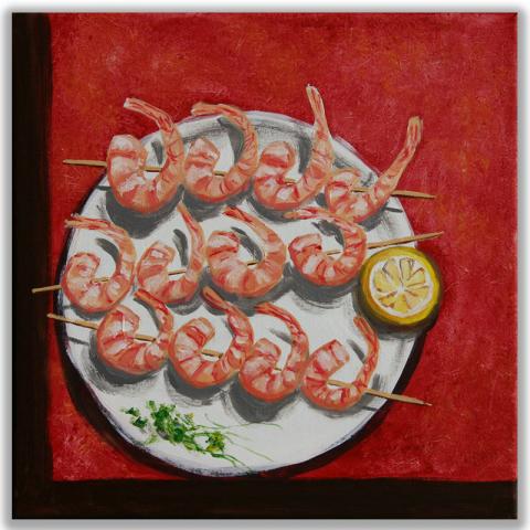 "Acrylbild ""Scampi vom Grill"" 40 x 40 cm"