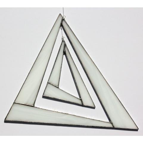 """Glashänger """"Triangel groß"""" weiß, Glasbild, Tiffanyglas"""