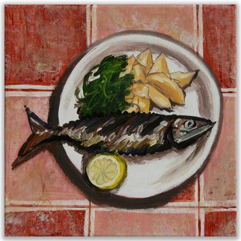 """Acrylbild """"Makrele"""" 40 x 40 cm"""