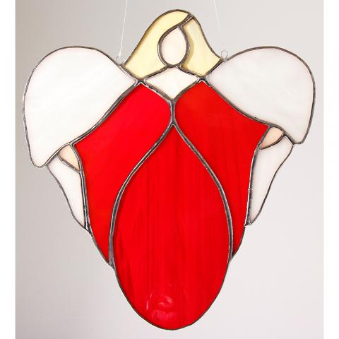 "Glashänger ""Willkommen Engel"" rot, Glasbild, Tiffanyengel"