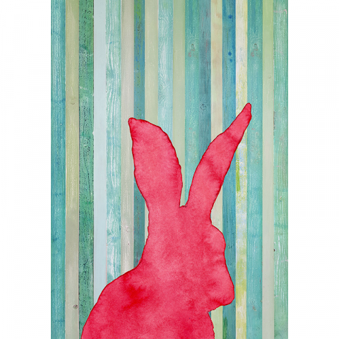 """Poster """"Hase"""" Kirsch, Rot"""