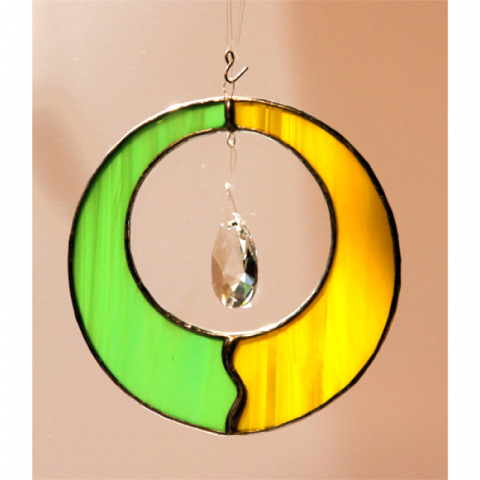 "Glashänger ""Zirkel"" grün/gelb, Glasbild, Tiffanyglas"