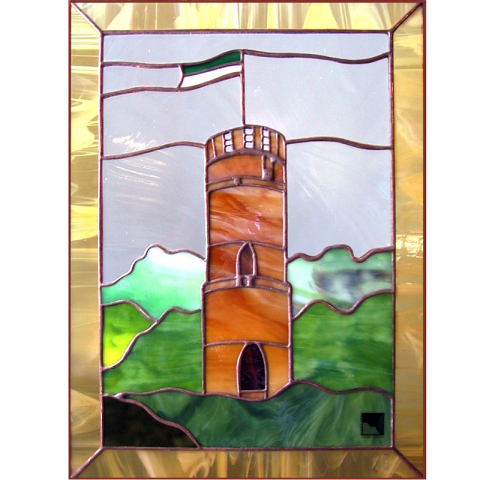 "Glasbild ""Wartturm"" 26 x 35cm, mit Rahmen"