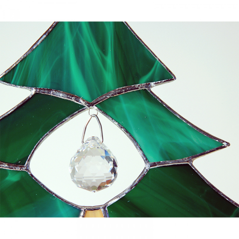 """Glashänger """"Tannenbaum mit Kristallkugel"""" Tiffanyglas"""
