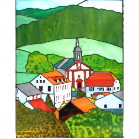 """Glasbild """"Waldstetten"""" Tiffanyglas handmade"""