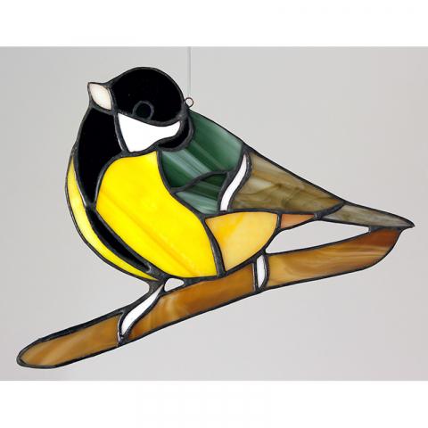 "Glashänger ""Kohlmeise"" Glasvogel, Tiffanyglas"
