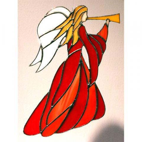 "Glashänger ""Jugenstil-Engel m. Trompete"" klein rot/orange"