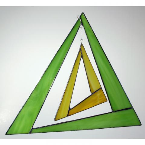 """Glashänger """"Triangel groß"""" grün, gelb, Glasbild, Tiffanyglas"""