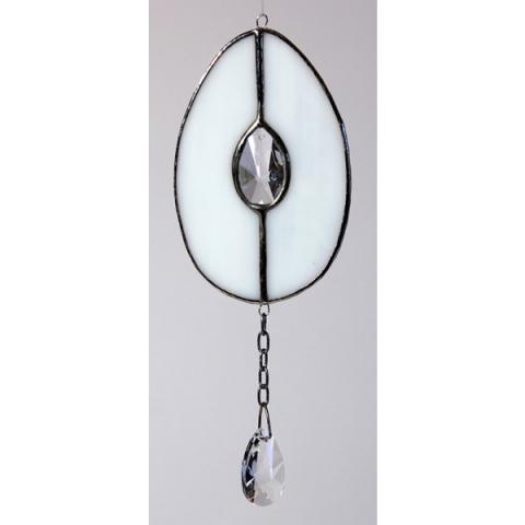 """Glashänger """"Ei mit Kristall"""" weiß, Tiffanylas, Glasbild"""