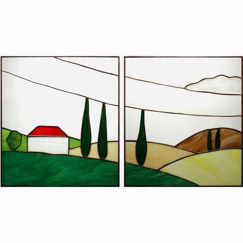 "Glasbild ""Toscana"" Tiffanyglas handmade"