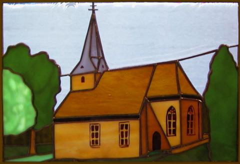 """Fensterbild """"Alte Kirche Steinbach"""" Glasbild"""