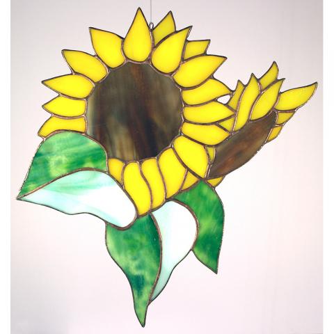 """Glashänger """"Sonnenblumen Paar"""" Tiffanyglas, Glasbild"""