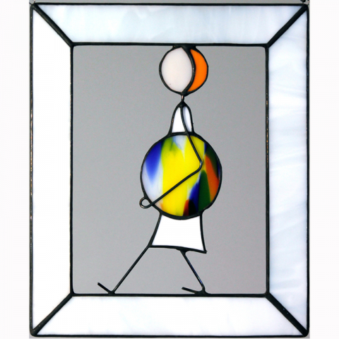 "Glasbild ""Ball Variation laufend"" Tiffanyglas"
