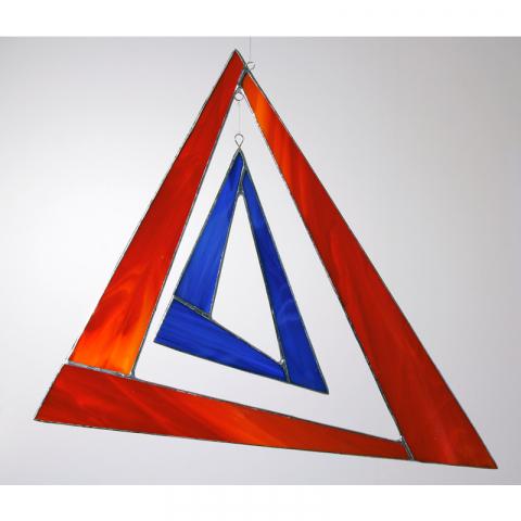 "Glashänger ""Triangel groß"" rot, blau, Glasbild, Tiffanyglas"