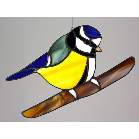 "Glashänger ""Blaumeise"" Glasvogel, Tiffanyglas"