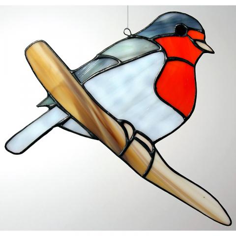 "Glashänger ""Rotkehlchen"" Glasvogel, Tiffanyglas"