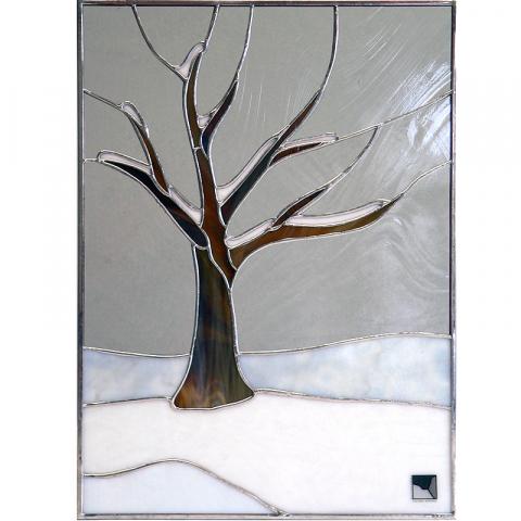 """Glasbild """"Baum im Schnee"""" Tiffanyglas"""