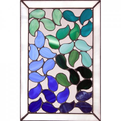 "Glashänger ""Flamme kalt"", Tiffanyglas, Glasbild"