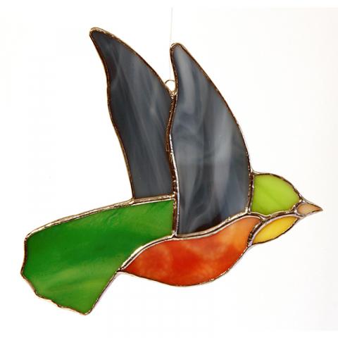 "Glashänger ""Vogel 2"" Glasbild, Tiffanyglas"