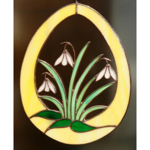 """Glashänger """"Schneeglöckchen im Ei"""", Tiffanyglas, Glasbild"""