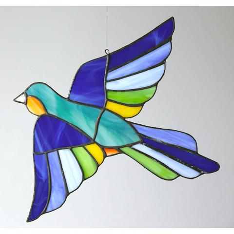 "Glashänger ""Vogel 7"" Glasbild, Tiffanyglas"