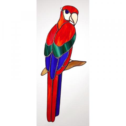 """Glashänger """"Papagei klein"""" Tiffany-Glasbild"""