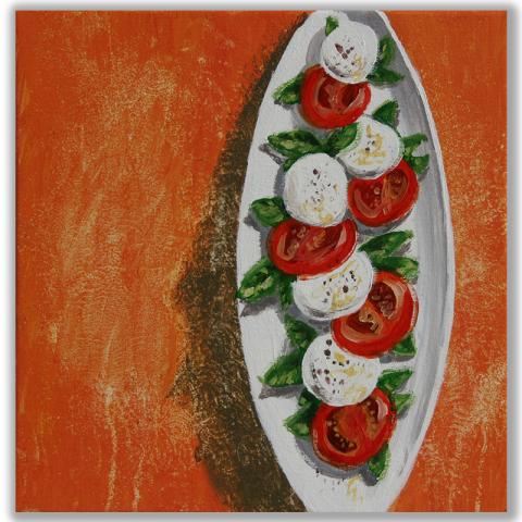 """Acrylbild """"Tomaten Mozzarella"""" 40 x 40 cm"""