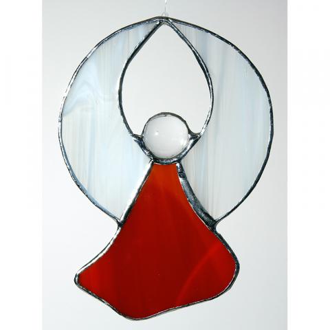"""Glashänger """"kleiner Engel m. Perle, rund"""" Tiffanyengel"""