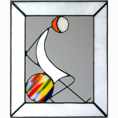 "Glasbild ""Ball Variation sitzend"" Tiffanyglas"